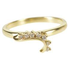 14K Diamond Inset Wavy Design Wedding Band Ring Size 5.25 Yellow Gold [QWQX]