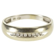 10K Grooved Channel Inset Diamond Men's Wedding Band Ring Size 11 White Gold [QWQX]