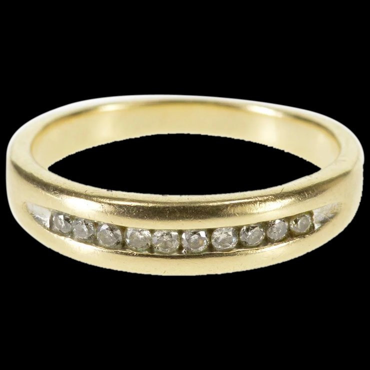 10k Channel Inset Diamond Wedding Band Ring Size 7 75 Yellow Gold Qwqq