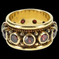 14K Ornate Bezel Set Ruby Rope Trim Band Ring Size 6 Yellow Gold [QWQX]