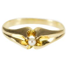 10K Gypsy Scalloped Set Seed Pearl Baby Child's Ring Size 1.25 Yellow Gold [QWXQ]