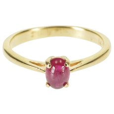 14K Oval Ruby Cabochon Prong Set Solitaire Ring Size 4.75 Yellow Gold [QRXT]