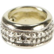 14K Diamond Inset Textured Ring Bead Charm/Pendant White Gold  [QWXC]