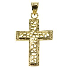 10K Abstract Lattice Design Cross Christian Symbol Pendant Yellow Gold  [QWXC]