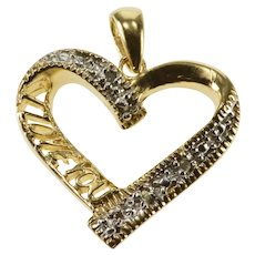10K Diamond Inset Accent Wavy I Love You Heart Pendant Yellow Gold  [QRXK]