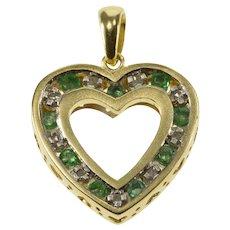 10K Emerald Diamond Channel Inset Squared Heart Pendant Yellow Gold  [QWQQ]