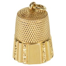 14K Ornate Design Scroll Trim Sewing Tool Thimble Yellow Gold  [QWXQ]