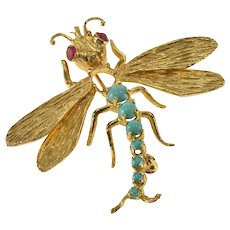 14K Ornate Turquoise Ruby Inset Dragonfly Retro Pin/Brooch Yellow Gold  [QWXQ]