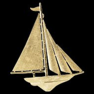14K Crosshatch Textured Stylized Sail Boat Ship Pin/Brooch Yellow Gold  [QWQC]