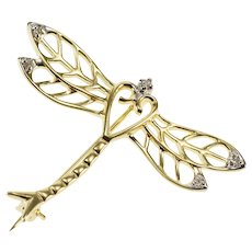 14K Diamond Inset Ornate Stylized Dragonfly Pin/Brooch Yellow Gold  [QWXQ]