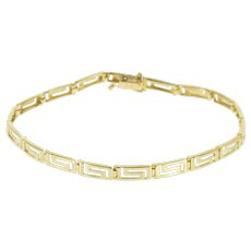 "14K Squared Greek Key Wave Patterned Link Bracelet 6.75"" Yellow Gold  [QWXQ]"