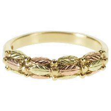 10K Two Tone Textured Leaf Pattern Band Ring Size 5.75 Yellow Gold [QWXQ]