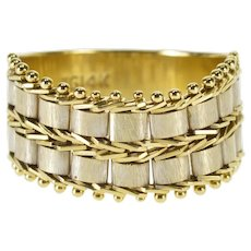 14K Two Tone Tiered Bar Chain Design Band Ring Size 6.25 Yellow Gold [QWQC]