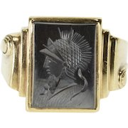 10K 1940's Carved Hematite Intaglio Scroll Accent Ring Size 11 Yellow Gold [QWXQ]