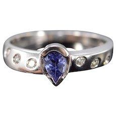 14K 0.51 Ctw Tanzanite & Diamond Ring Size 7.75 White Gold [QWXP]