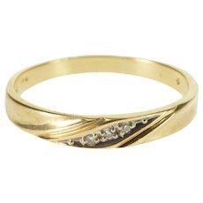10K Diamond Inset Grooved Design Men's Wedding Ring Size 12 Yellow Gold [QWXQ]
