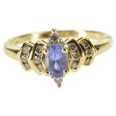 10K Oval Tanzanite Diamond Accented Statement Ring Size 6.75 Yellow Gold [QWQC]