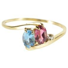 14K Oval Blue Topaz Pink Tourmaline Diamond Bypass Ring Size 9.5 Yellow Gold [QWXQ]