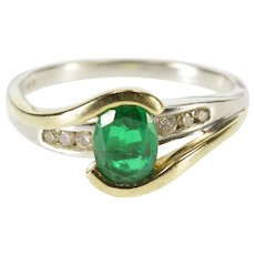 10K Two Tone Oval Syn. Emerald Diamond Channel Inset Ring Size 6.75 White Gold [QWQC]