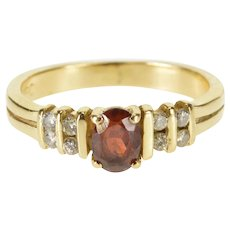 14K Oval Garnet Channel Inset Diamond Accent Ring Size 3.75 Yellow Gold [QWXQ]