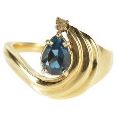 14K Pear London Blue Topaz Diamond Accent Wavy Ring Size 5.75 Yellow Gold [QWXQ]