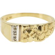 10K Diamond Inset Squared Textured Nugget Design Ring Size 9 Yellow Gold [QWXQ]