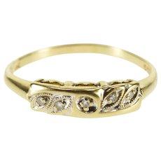 14K Diamond Inset Petal Design Wedding Band Ring Size 8.25 Yellow Gold [QWXC]