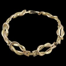 "12Gold Filled Two Tone Hamilton Knot Link Ornate Chain Bracelet 7.25""   [QWXQ]"