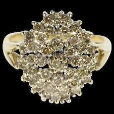 10K 1.25 Ctw Diamond Encrusted Cluster Cocktail Ring Size 10 Yellow Gold [QWQC]
