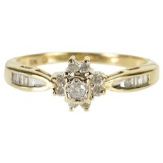 10K 0.24 Ctw Diamond Floral Cluster Engagement Ring Size 7.75 Yellow Gold [QWQC]