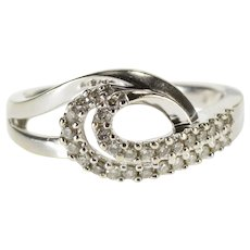 10K Diamond Encrusted Wave Swirl Design Layered Look Ring Size 7 White Gold [QWQC]