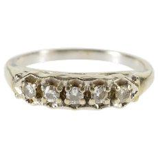 14K Retro Scalloped Milgrain Trim Wedding Band Ring Size 6.75 White Gold [QWQC]