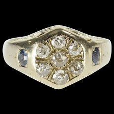 14K 0.54 Ctw Ornate Diamond Sapphire Art Deco Ring Size 8.25 White Gold [QWQC]