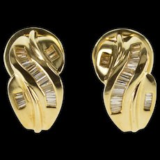 14K 2.00 Ctw Baguette Channel Criss Cross French Clip EarRings Yellow Gold  [QWQC]