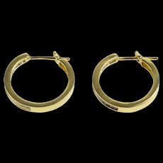 14K 3.60 Ctw Princess Channel Diamond Squared Hoop EarRings Yellow Gold  [QWQC]