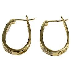 10K Channel Inset Diamond Oval Scroll Pattern Hoop Earrings Yellow Gold  [QWXC]