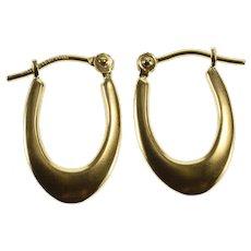 14K Ridged Design Oval Hollow Hoop Earrings Yellow Gold  [QWXC]