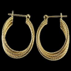 14K Spiral Patterned Tiered Twist Design Oval Hoop EarRings Yellow Gold  [QWQC]