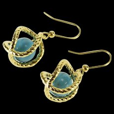 14K Hollow Puffy Twist Cage Syn. Turquoise Dangle Hook EarRings Yellow Gold  [QWQC]