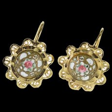 10K Ornate Floral Enamel Scalloped Trim Hook Back EarRings Yellow Gold  [QWQC]