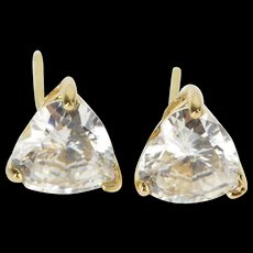14K Cubic Zirconia Heart Cut Solitaire Post Back Stud EarRings Yellow Gold  [QWQC]