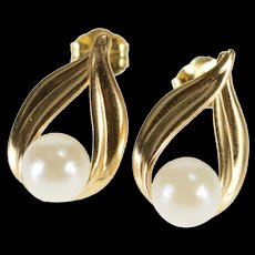 14K Pearl Inset Leaf Design High Relief Post Back EarRings Yellow Gold  [QWQC]