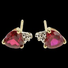 10K Heart Cut Syn. Ruby Textured Cluster Accent Stud EarRings Yellow Gold  [QWQC]