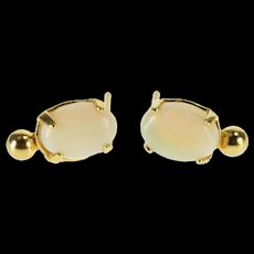 Gold Filled Oval Syn. Opal Cabochon Dot Accent Stud EarRings   [QWQC]