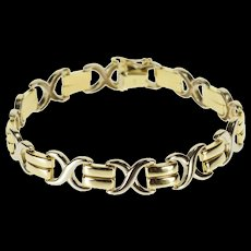 "14K Two Tone X Link Criss Cross Link Chain Bracelet 7.25"" Yellow Gold  [QWQC]"