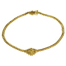 "14K Textured Square Design Bar Link Dot Trim Chain Bracelet 7"" Yellow Gold  [QWXC]"
