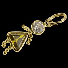 14K August Green Birthstone Baby Girl Charm/Pendant Yellow Gold  [QWQC]