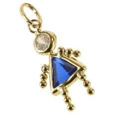 c3a31357a 14K Blue Birthstone Baby Girl September Charm/Pendant Yellow Gold [QWXF]