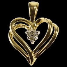 10K Diamond Cluster Inset Tiered Design Heart Pendant Yellow Gold  [QWQC]