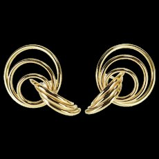 14K Tiered Curved Twist Ring Post Back EarRings Yellow Gold  [QWQC]